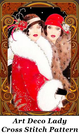 2 Art Deco Ladies Cross Stitch Pattern