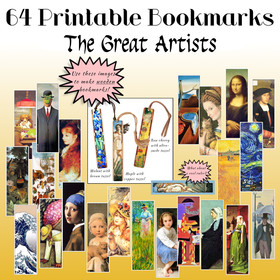 64 Printable Bookmarks: The Great Artists