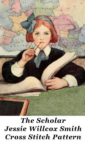 Cross Stitch Pattern: The Scholar, Jessie Willcox Smith
