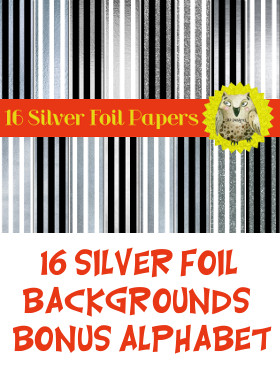 Silver Foil Striped Digital Paper