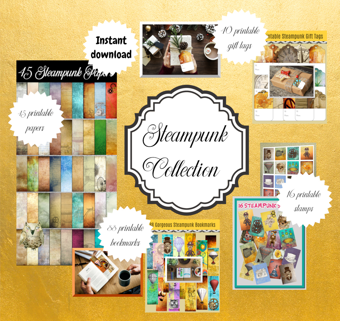 photograph about Printable Stamps called Steampunk Assortment: 189 Printable Bookmarks, Printable Present Tags, Electronic Papers Printable Steampunk Stamps