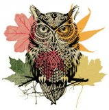 Autumn Leaf Owl Cross Stitch Pattern