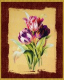 "A Floral Print of Gorgeous Vintage Tulips on a Cracked Background: 8"" x 10"", Glossy Artwork, Archival Ink"