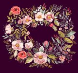 Flowered Wreath Cross Stitch Pattern
