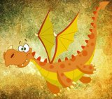 Friendly Dragon on a Grunge Background Cross Stitch Pattern