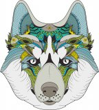 Zentangle Husky in Blues & Greens Cross Stitch Pattern