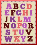 5 Polka Dotted Digital & Printable Alphabets: Black, Red and White, Red and Blue, Red and Black, Purple and Gold