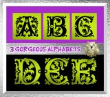 3 Digital Alphabets in Greens, Blacks and Foils, 78 Letters: Instant Download