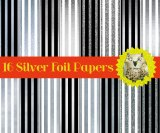 "16 Silver Striped Foil Digital Papers or Scrapbooking Papers with Bonus Alphabet: 12"" x 12"", High Resolution"