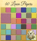 "40 Multi-Colored Linen Digital Papers: 12"" x 12"", Professional Resolution For Printing"