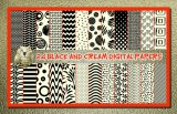 "24 Black and Cream Digital Papers With BONUS Alphabet: 12"" x 12"", Professional Resolution For Printing"