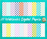 20 Watercolor Checkerboard Digital Papers & A Bonus Alphabet