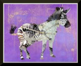 "Zebra Art: Stunning Zebra on a Purple Grunge Background, 8"" x 10"", Glossy Artwork, Archival Ink"