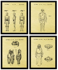"4 Star Wars Patents From Lucasfilms, 8"" x 10"", Original Patents, Glossy Paper"