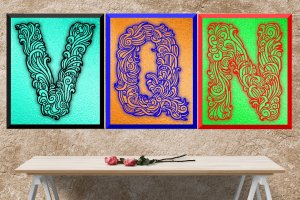 3 Ornate Digital Alphabets in Black, Red and Blue: Instant Download