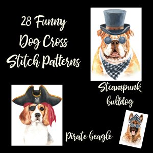 183 Watercolor Dogs Cross Stitch Patterns: On A USB Stick