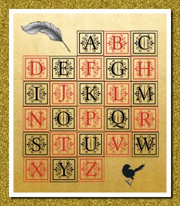 Spectacular Medieval Digital Alphabet or Printable Alphabet: PNG Format, 300 dpi Resolution