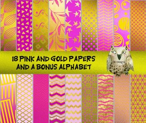 "18 Pink & Gold Foil Digital Papers With BONUS Alphabet: 12"" x 12"", Professional Resolution For Printing"