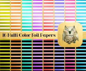 "16 Colorful Striped Foil Digital Papers or Scrapbooking Papers with Bonus Alphabet: 12"" x 12"", High Resolution"