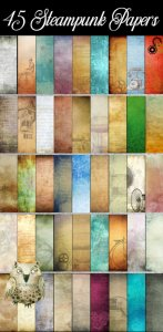"45 Steampunk Digital Papers or Scrapbooking Papers: 12"" x 12"", High Resolution"