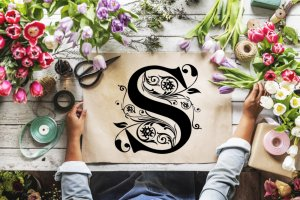 Monogram Digital Alphabet & Printable Alphabet With Vines, Flowers and Swirls