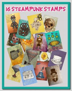 DIY 16 Printable Steampunk Stamps: High Resolution Steampunk Images